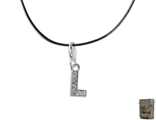 Charm Anhänger Buchstabe L 2,0cm L3055 Enez Leder-Halskette 40cm 75cm