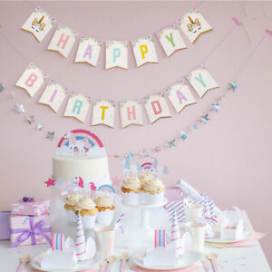 Unicorn-Party-Paper-Banner-Backdrop-Flag-Birthday-Baby-Shower-Decor-Supplies