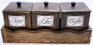 antique wooden tea coffee sugar container with tray set handcrated kitchen decor