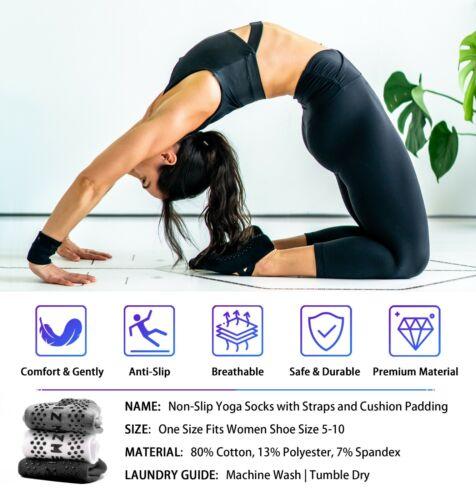 ⭐️Newzill Yoga Socks Women Non-slip Straps Pilates Workouts Dance Home3 PAIR⭐