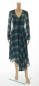 ex-M-amp-S-Holly-Willoughby-Tartan-Checked-Fit-amp-Flare-Asymmetric-Midi-Dress