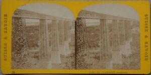Suisse Pont Da Grandfey Friburgo Foto n1 Stereo Vintage Albumina c1870