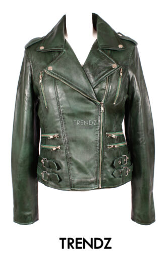 Ladies cuero 7113 piel verde oscuro chaqueta Style de Biker de Zips Real de  cordero Desire pxBrqp 9800b6cb71bc