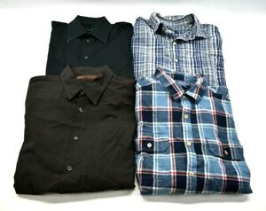 Bulk-Men-039-s-Large-Various-Brands-Long-amp-Short-Sleeve-Button-Up-Shirts-Lot-of-4