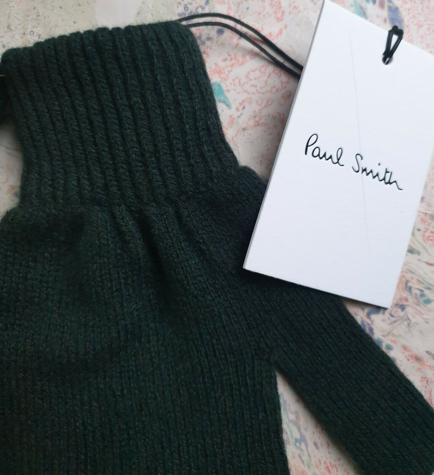 Paul Smith Mens Gloves 95% Cashmere 5% Wool Bottle Green Scottish 1-Size RRP