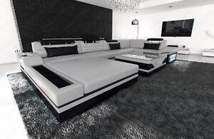 Designsofa Luxus Wohnlandschaft Mezzo U Form Led Beleuchtung
