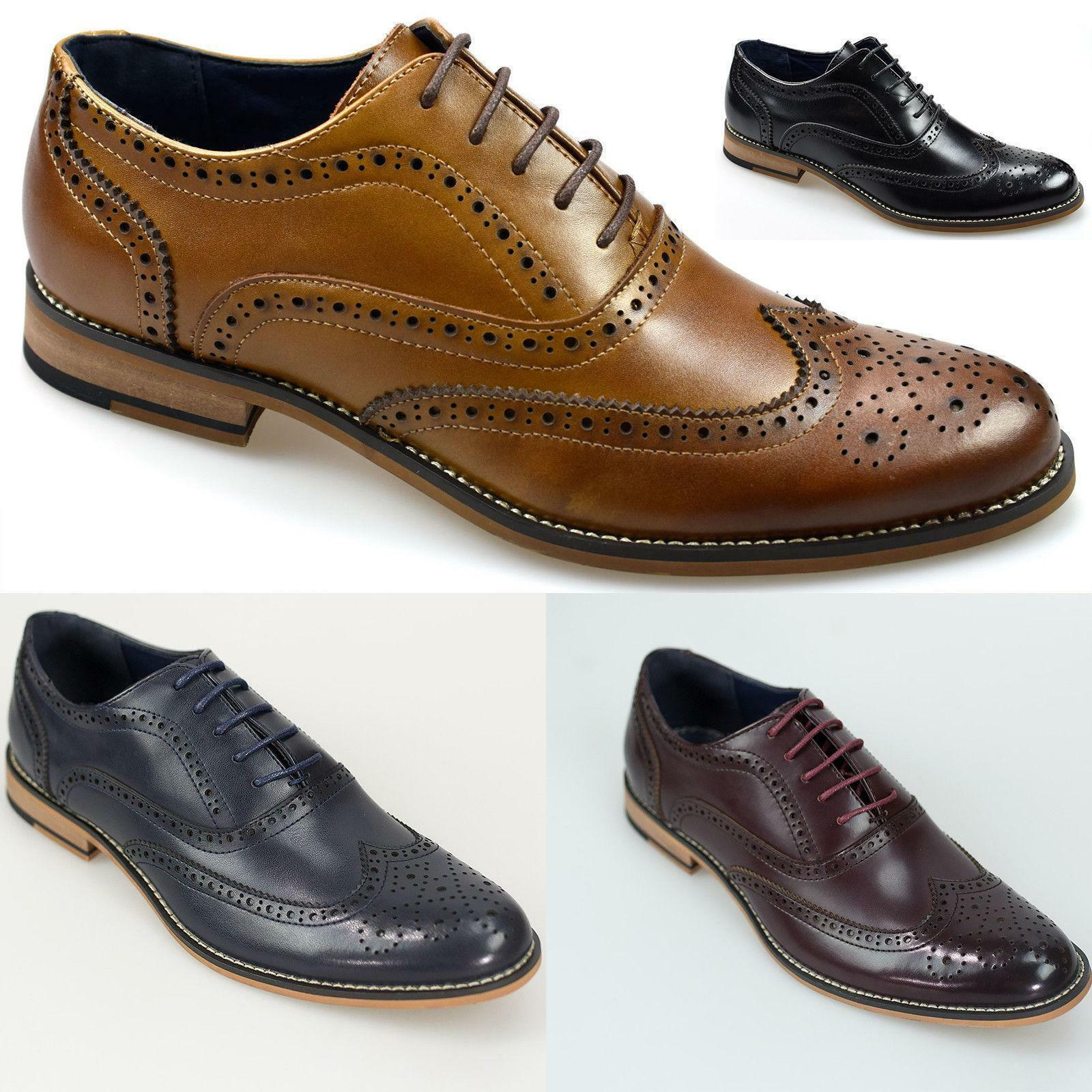 Cavani Mens Leather Brogue shoes Oxford Lace Up Peaky Blinders, Office, Weddings