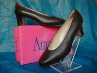 Amanda Dark Brown Leather Dress Shoe..size 6 1/2m