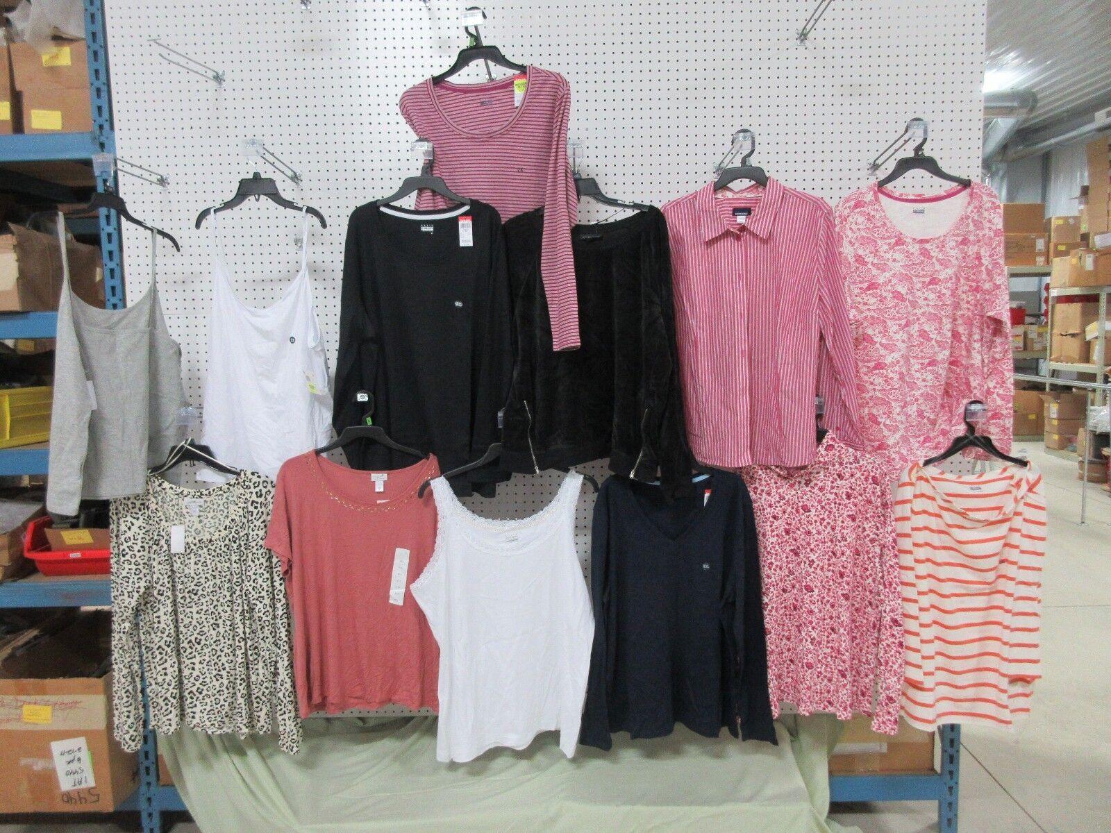 13 WOMEN 2XL SHIRT TOP LADIES CLOTHES SPAGHETTI STRAP LONG SHORT SLEEVES LOT