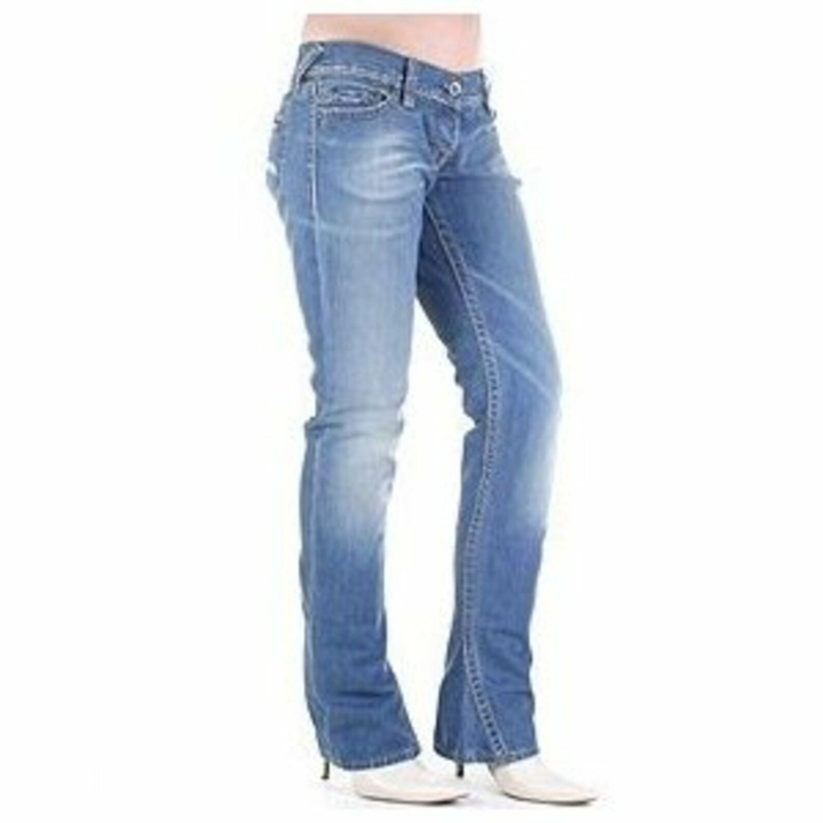 Evisu démarragecut Jeans Rivets Pantalon Bleu femmes Faible Waist Denim 100% Cotton bleu 28 S
