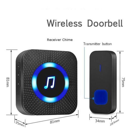 Wireless Door Bell Waterproof Doorbell Wall Plug In Loud Chime LED Flash 1+2 UK