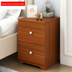 Bedside-End-Table-Nightstand-Storage-Cabinet-Locker-Bedroom-Side-Double-Drawer