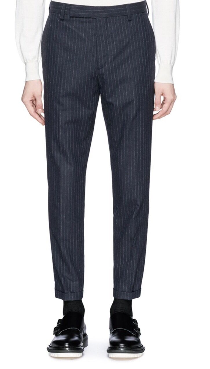 NWT Carven Pinstripe Pants Wool Blend Pinstripes Navy Size 32