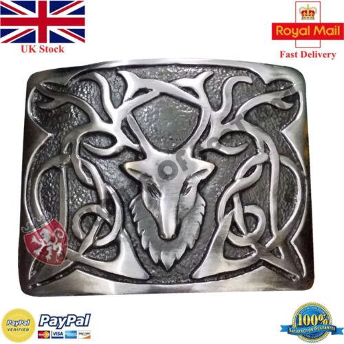 HS Scottish Kilt Belt Buckle Stag Head Brushed Silver Antique Highland Buckles