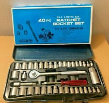 40Pcs Tool Socket Wrench Set SAE//METRIC 1//4/&3//8 Inch DR Socket Set W//Case Tools