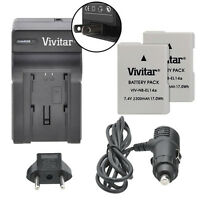 Vivitar Dual Battery En-el14a & Charger Kit For Nikon D3300 D3200 D3100 Df