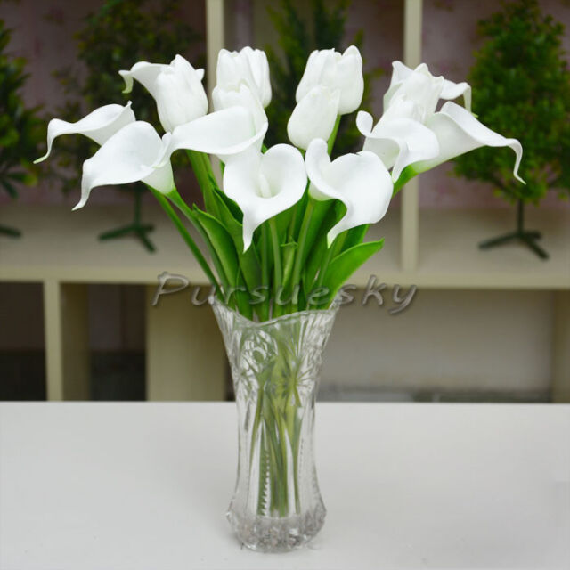 10Pcs Artificial Calla Lily Latex Real Touch Flower Decor Bouquets Wedding DIY