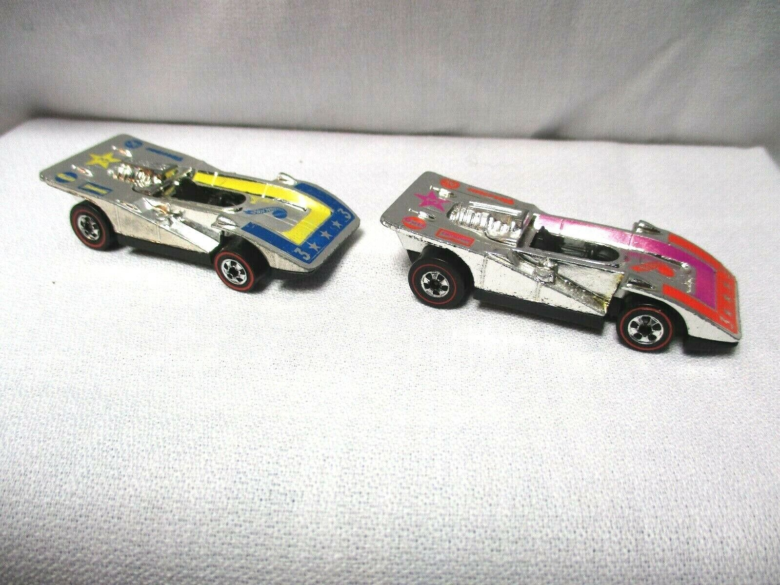Hot Wheels rotline Chrome Steam Rollers x2  1973