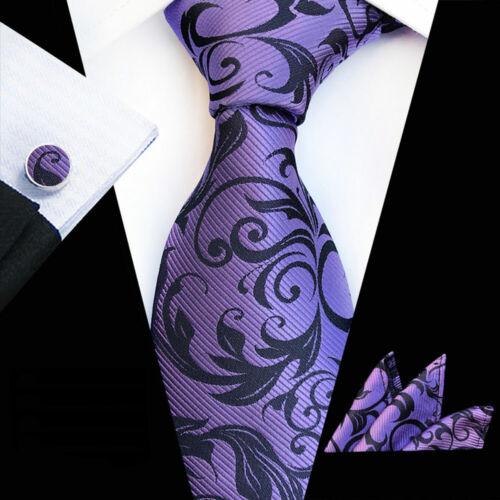 Details about  /Men's Pocket Square Necktie Cufflinks Floral Paisley Printed Handkerchief Set