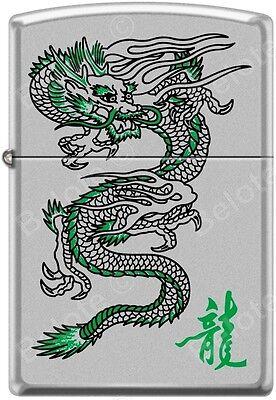 Zippo Green Dragon Chrome WindProof Lighter Good Luck Charm RARE L@@K
