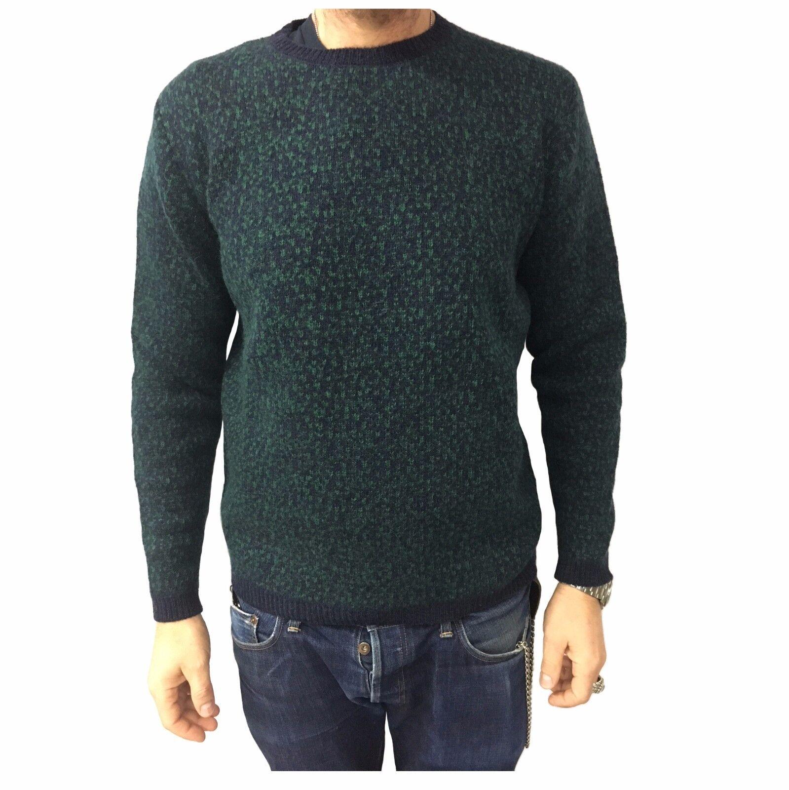 IRISH CRONE men's sweater bluee green 75% wool 7% mohair MADE IN ITALY