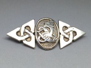 Celtic-Sterling-Silver-Zoomorphic-Serpent-Trinity-Knot-Brooch
