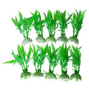 10 pcs Artificial Green Plants Aquarium Tank Fish Vivid Plastic Grass Decoration