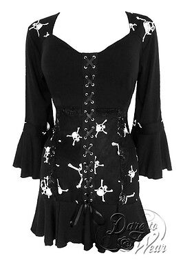 Jr. Plus Size Gothic Cabaret Corset Top Skull Print Jolly Rodger 1X