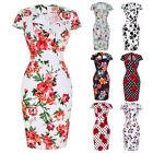 Womens Wiggle Pencil 50s Floral Dress Ladies Cocktail Party Dresses PLUS Size