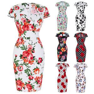 Womens-Wiggle-Pencil-50s-Floral-Dress-Ladies-Cocktail-Party-Dresses-PLUS-Size