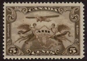 CANADA-C1-5c-brown-olive-MNH-OG-039-AIR-MAIL-STAMP-039-1928-F-VF