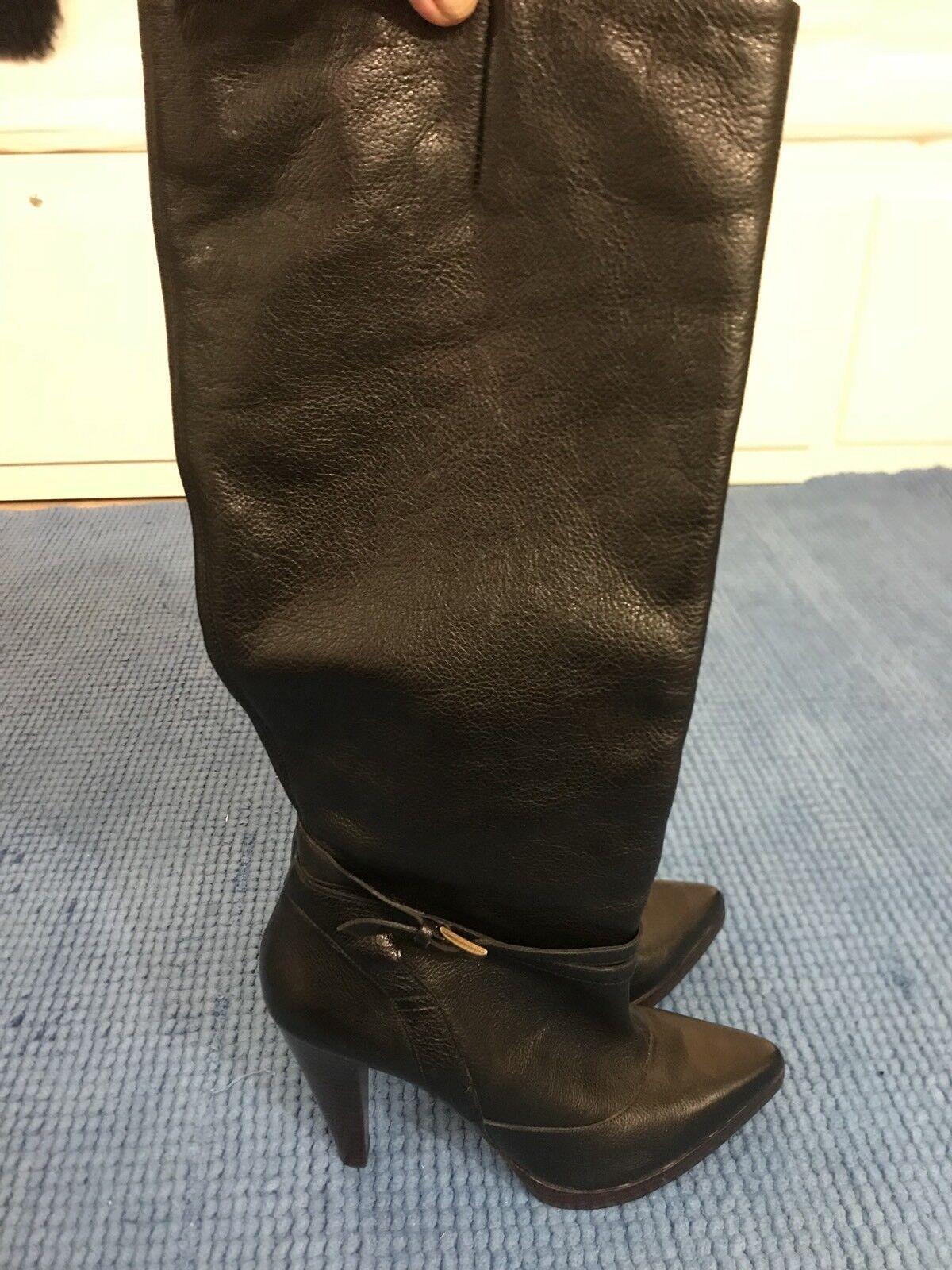 Buffalo Damas De Cuero Negro botas Hasta La La La Rodilla Talla 41 Puntera En Punta  seguro de calidad