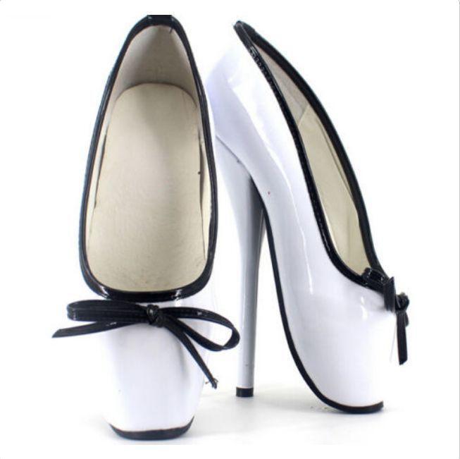 Women Sexy 18cm heel stilettos ballet bowknot pumps mixed color slip on shoes M