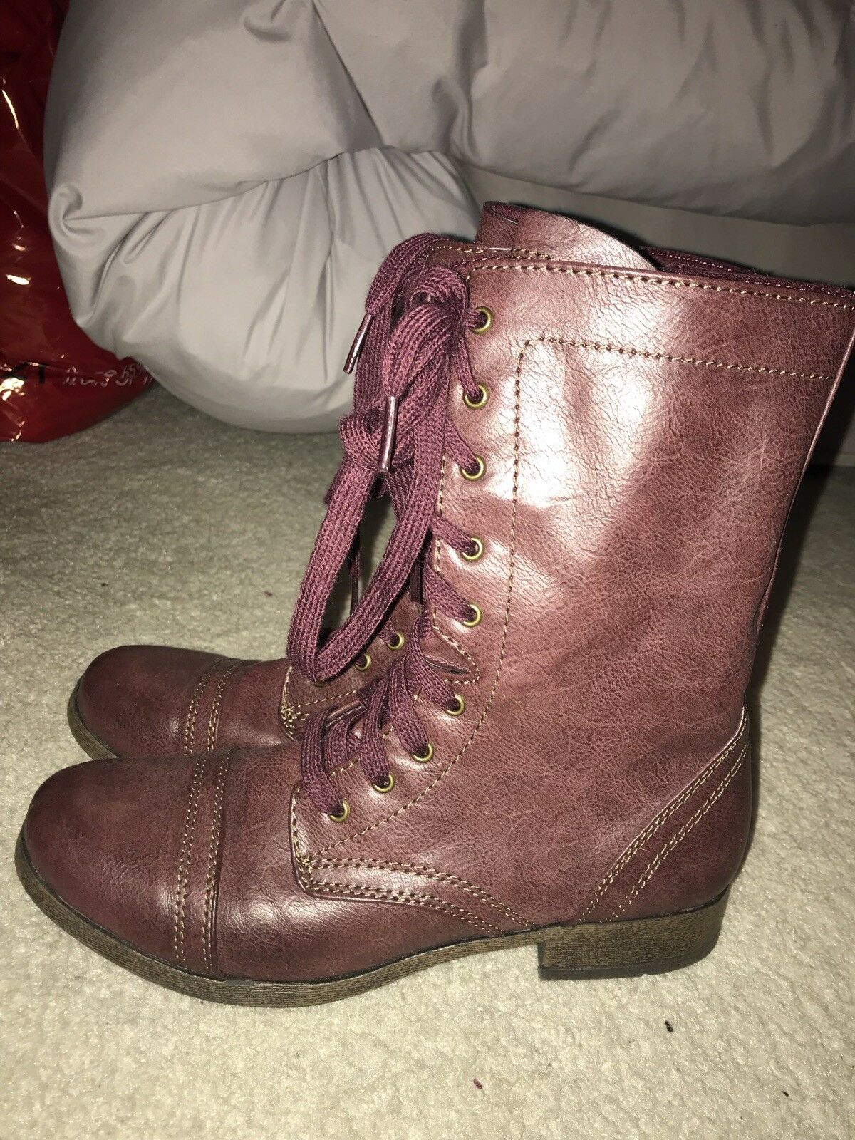 Xhilaration Red Combat Boots Size 7.5 Womens US