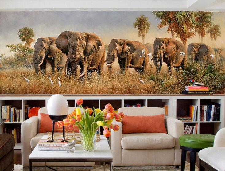 3D Jungle elephant 757 Wall Paper Print Decal Wall Deco Indoor wall Mural