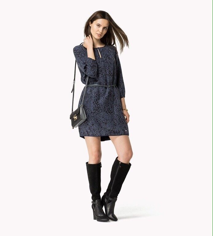 BNWT 100% auth Tommy Hilfiger ladies Magna Leopard Blau dress. 6