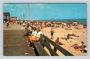 Chrome-View-of-Beach-Boardwalk-Ocean-Rehoboth-Beach-DE-Postcard-X27