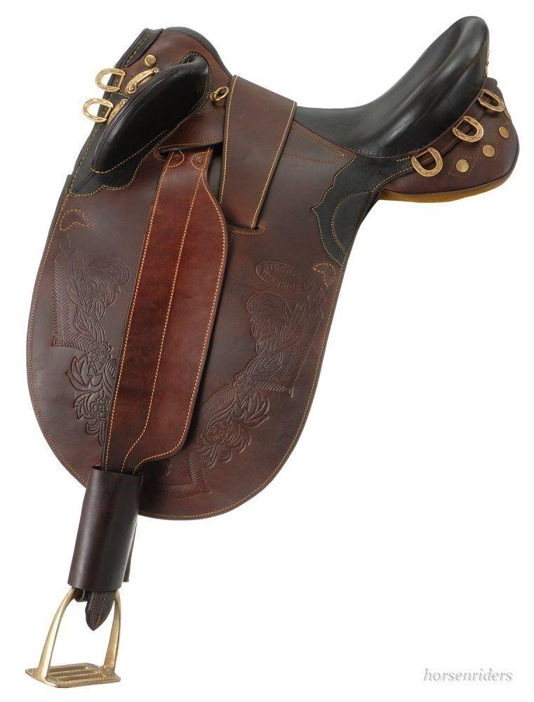 18 in (approx. 45.72 cm) australiano Silla-Stockman Bush Rider-oscuro aceite-no cuerno de árbol
