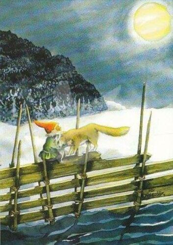 """Inge Löök Nr 212 /""""Zwerg mit Wolf/"""" Postkarte Postcrossing Grußkarte Mond Schnee"""
