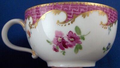 Antique-18thC-Meissen-Porcelain-Puce-Trim-Floral-Cup-Saucer-Porzellan-Tasse