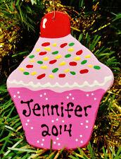 U CHOOSE NAME & YEAR Personalized CUPCAKE ORNAMENT Christmas Kids Decor