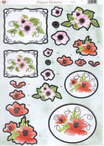 EI031 Elegant Elements Foiled Decoupage Toppers Wild Rose /& Poppy