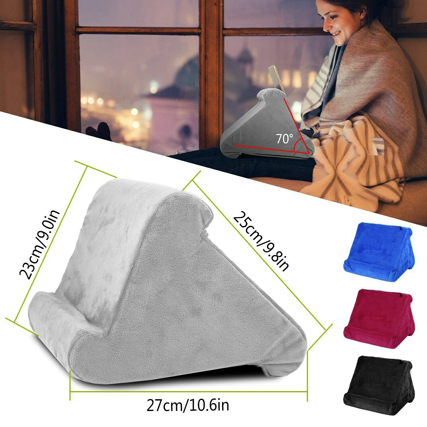 Picture of: Ipad Pillow For Bed Sofa Stand Holder Pockets Storage Cushion Tablet Black 10 9 For Sale Online Ebay