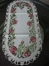 "16""x54"" Embroidered TableClothes Dining Table Runner cutwork design Spring Roses"