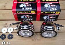 2x White Clear LED Chrome Angel Eye Spotlights Car Bike Motorcycle Halogen Bulb