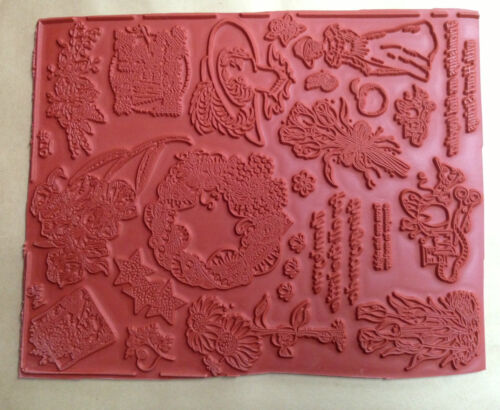 Victorian Stamps Flowers Women Unmounted Rubber Stamp Sheets Floral Sewing