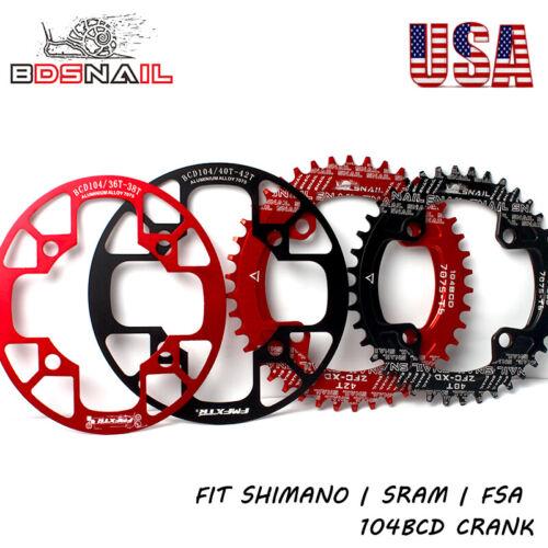 32-42t 104BCD Round Oval Chainring Chain Guard MTB Bike Chainwheel Aluminum CNC