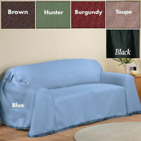 Madison Furniture Solid Couch Throw Cover For Sofa, Love Seat & Chair Many Color