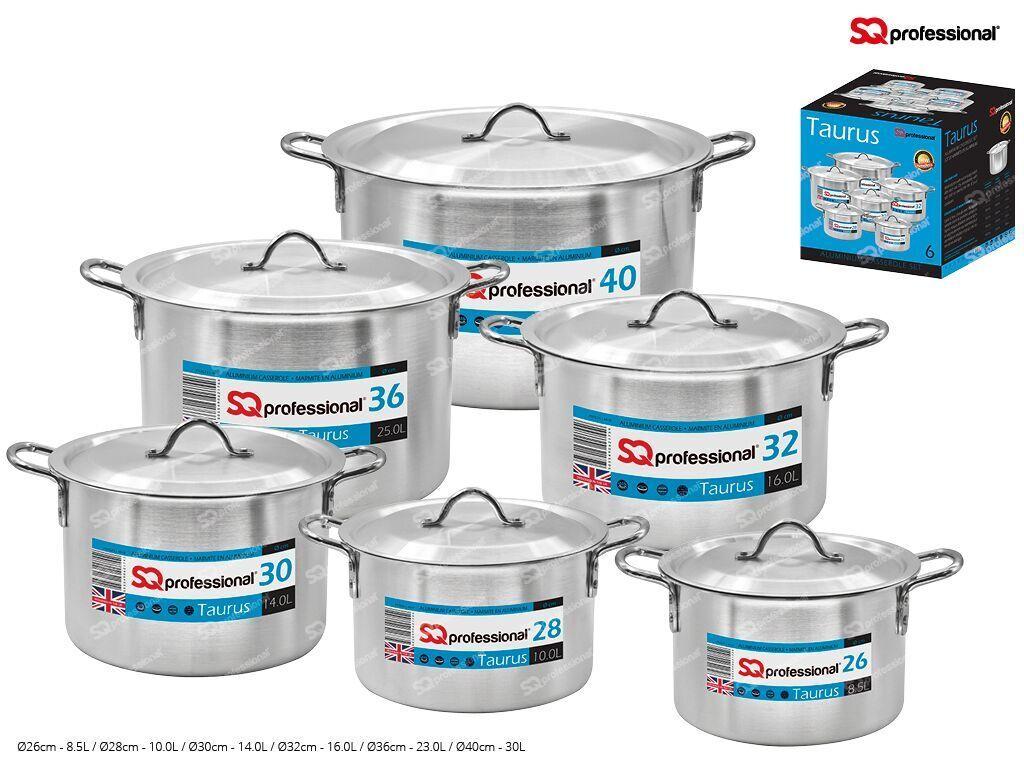 SQ 6Pcs Professionnelle Aluminium Marmites, format 28cm-40cm. Heavy Qualiy Taurus