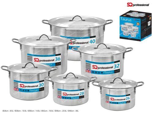 Sq Professional 6Pcs Aluminium Cooking Pots 28cm-40cm size.Heavy Qualiy Taurus